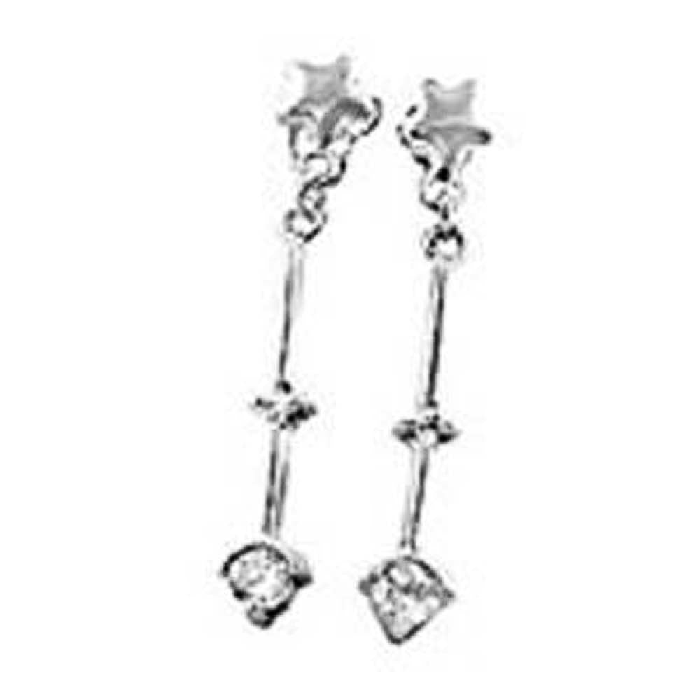 Sterling Silver Star Dangle Earrings with Clear CzAnd Earring Dimension of 4MMx28.58MM