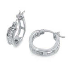 Load image into Gallery viewer, Sterling Silver Baguette Cz Huggie Earrings with Earring Diameter of 16MM and Earring Width of 4MM