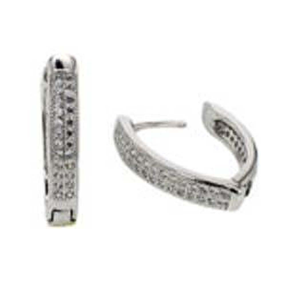 Sterling Silver 2 Line Micro Pave Clear CZ V-Shape Huggie Earrings with Earring Dimensions of 3.8MMx21MM
