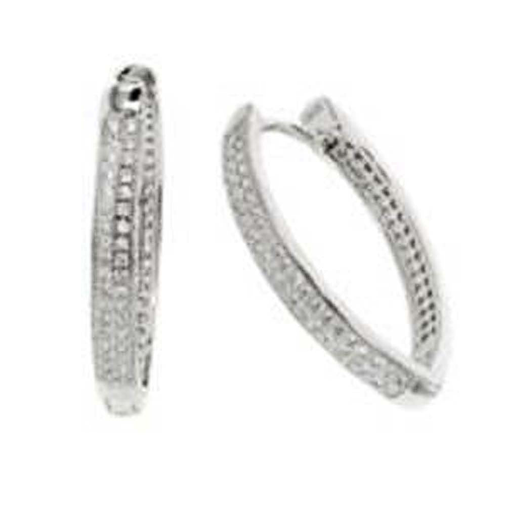 Sterling Silver 2 Line Micro Pave Clear CZ Thin V-Shape Huggie Earrings with Earring Dimensions of 3.8MMx28.5MM