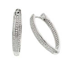 Load image into Gallery viewer, Sterling Silver 2 Line Micro Pave Clear CZ Thin V-Shape Huggie Earrings with Earring Dimensions of 3.8MMx28.5MM