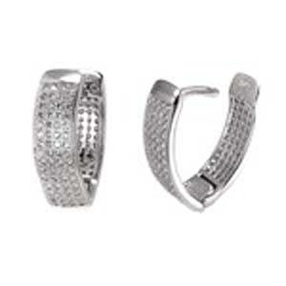 Sterling Silver 4 Line CZ V-Shape Micro Pave Huggie EarringsAnd Width 6.5 mm