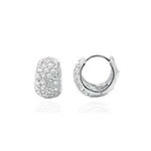 Load image into Gallery viewer, Sterling Silver Cubic Zirconia Huggie Hoop EarringsAnd width 9mm