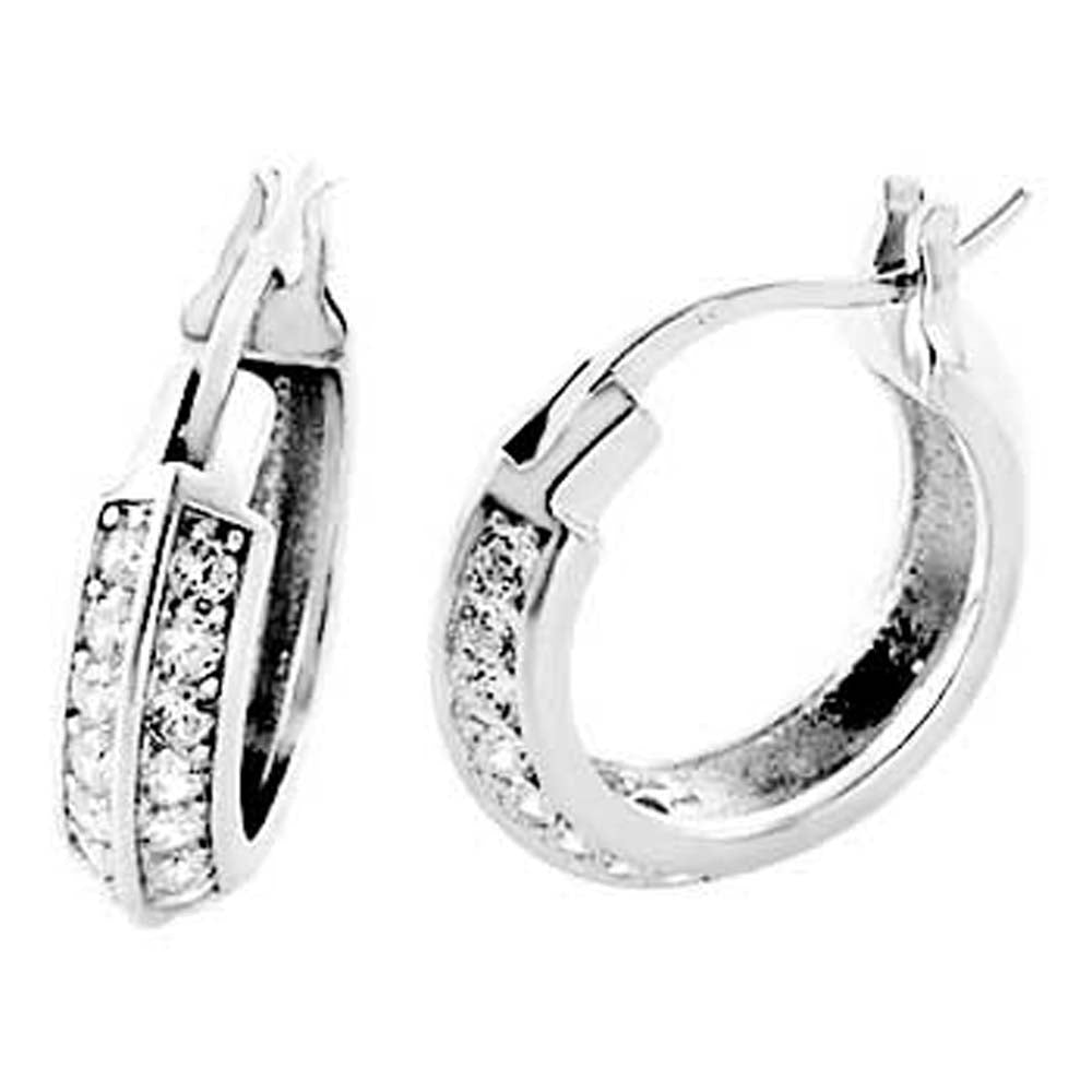 Sterling Silver Two Line Round Cz Huggie Earrings with Earring Diameter of 15.88MM and Earring Width of 4MM