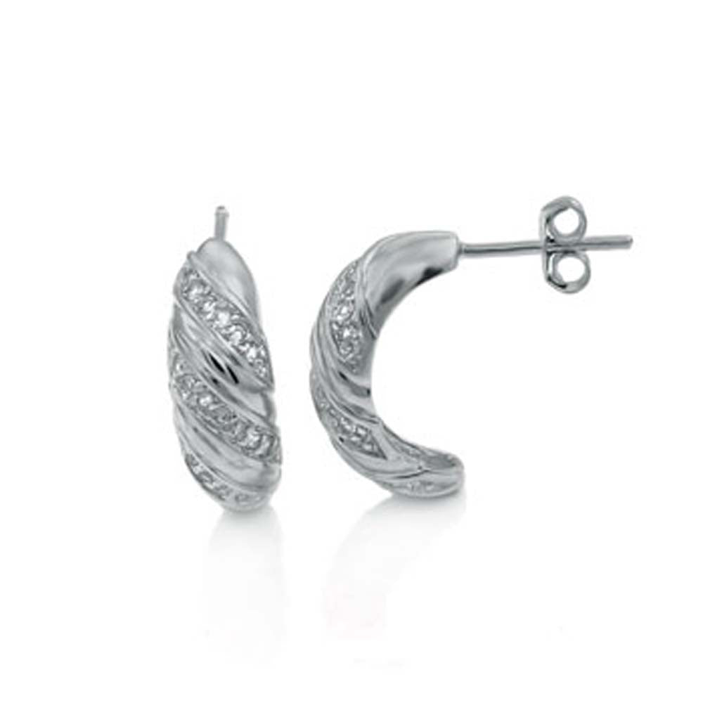 Sterling Silver Twisted Earrings with White TopazAnd Earring Dimension of 6MMx15.88MM