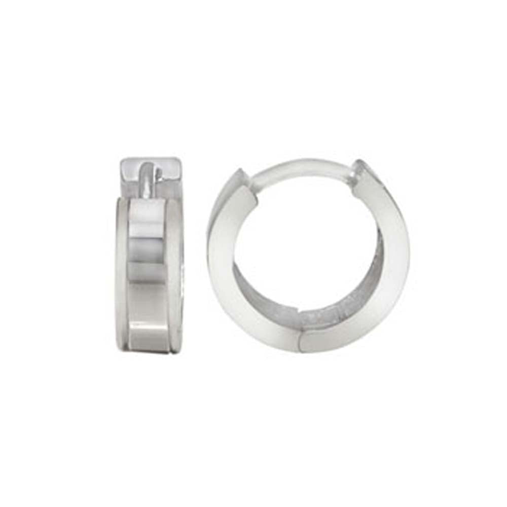 Sterling Silver Side Lines Plain Huggie Earrings with Earring Diameter of 10MM and Earring Width of 4MM