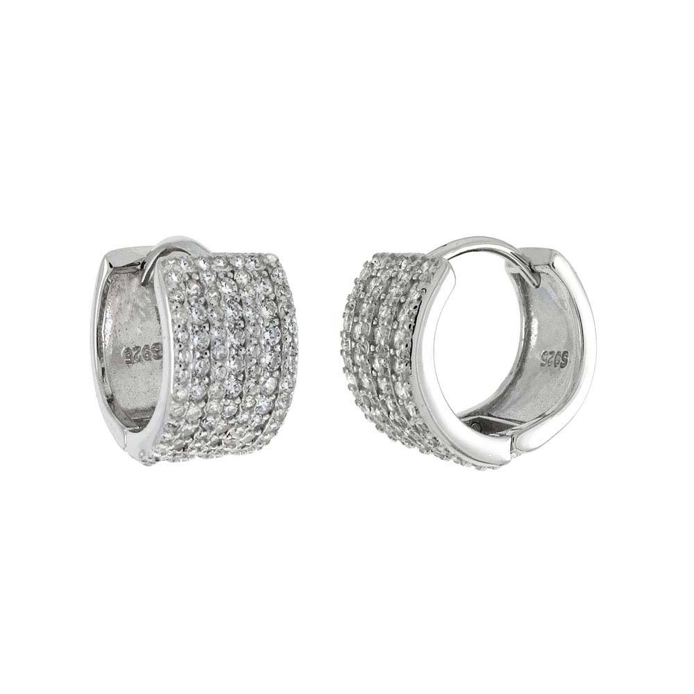 Sterling Silver Seven Lines Pave Huggie Shaped Earrings With CZ StonesAnd Width 7.6 mmAnd Diameter 14 mm