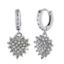Load image into Gallery viewer, Sterling Silver Huggie W. Dangling CZ Rhodium Earrings And Width 12.5 mm
