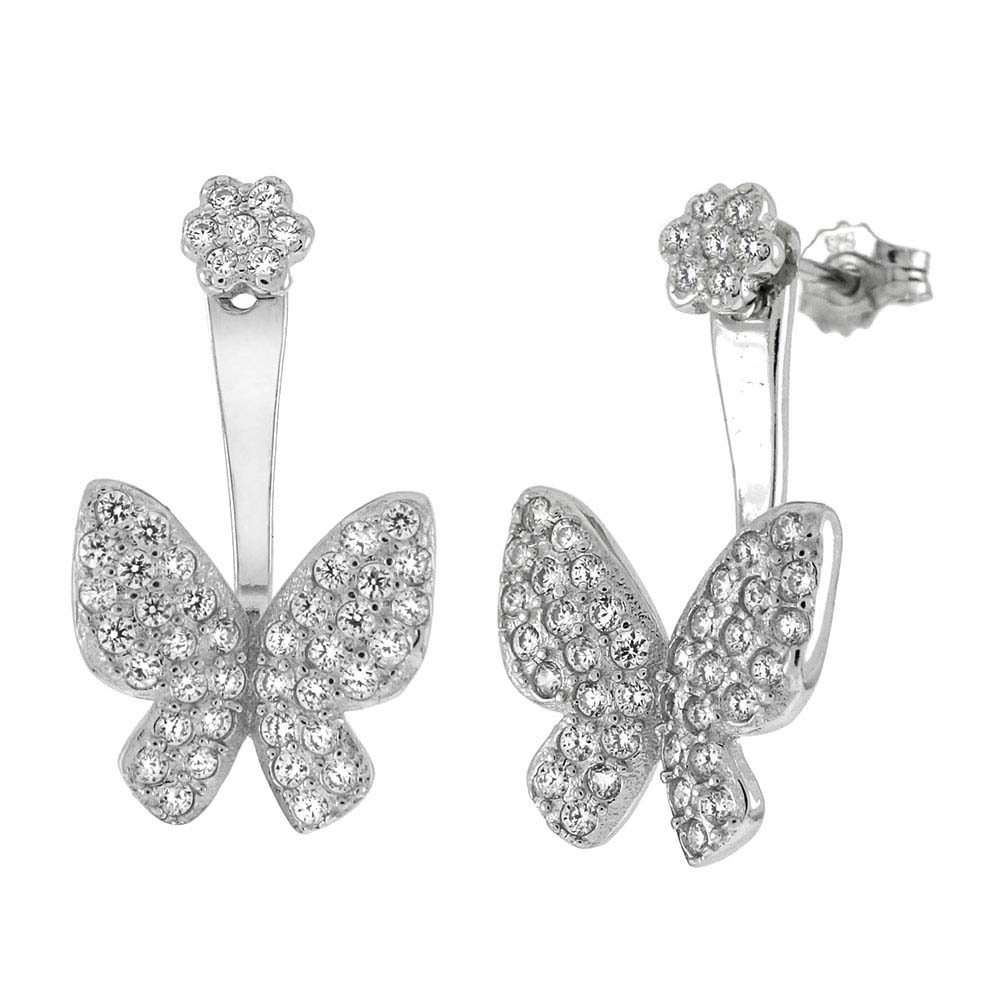 Sterling Silver Butterfly Pave CZ Ear Jacket 2 in 1 EarringsAnd Width 11.5mm