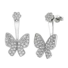 Load image into Gallery viewer, Sterling Silver Butterfly Pave CZ Ear Jacket 2 in 1 EarringsAnd Width 11.5mm