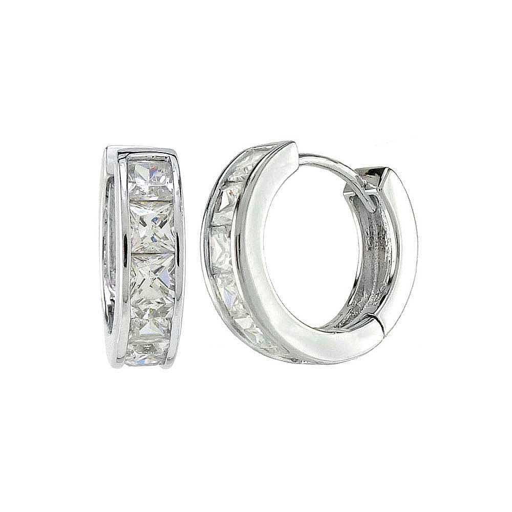 Sterling Silver Princess Cut CZ Huggie Earrings And Width 4.1 mm