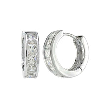 Load image into Gallery viewer, Sterling Silver Princess Cut CZ Huggie Earrings And Width 4.1 mm