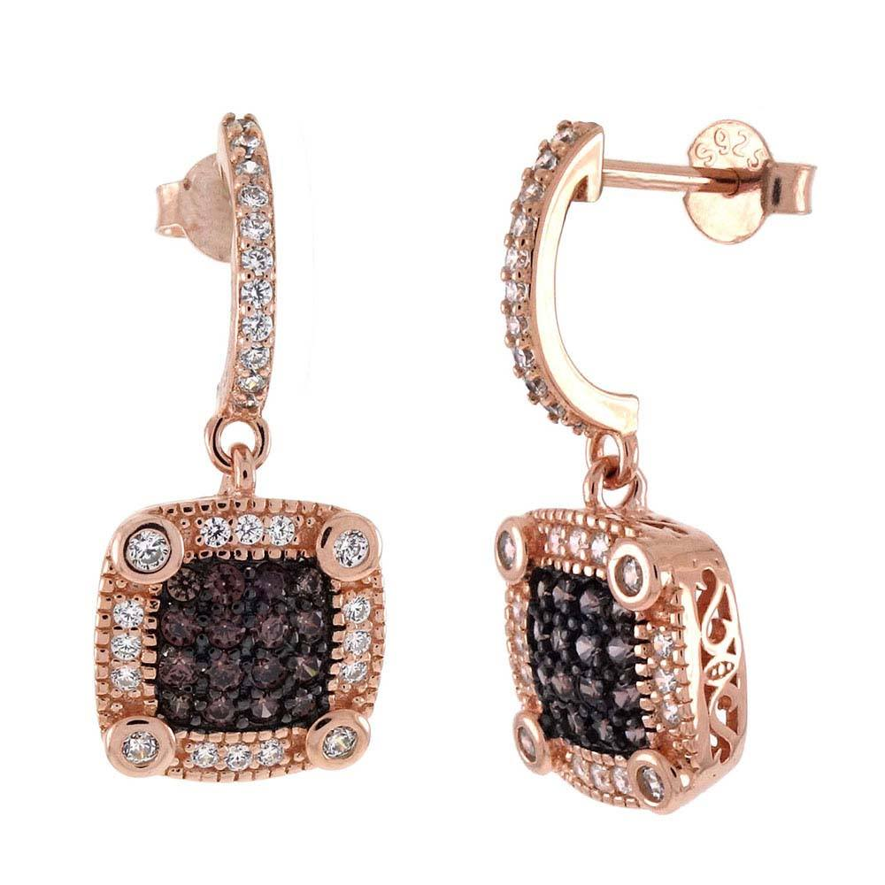 Sterling Silver Chocolate CZ Rose Gold Plated EarringsAnd Length 1 inchAnd Width 6mm