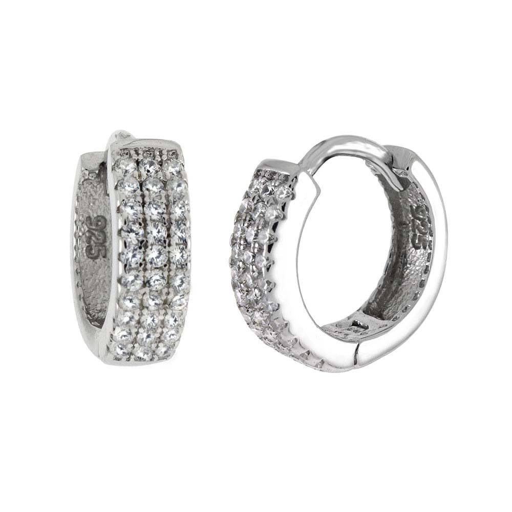 Sterling Silver Three Lines Huggie Hoop Shaped Earrings With CZ StonesAnd Width 4 mmAnd Diameter 14 mm