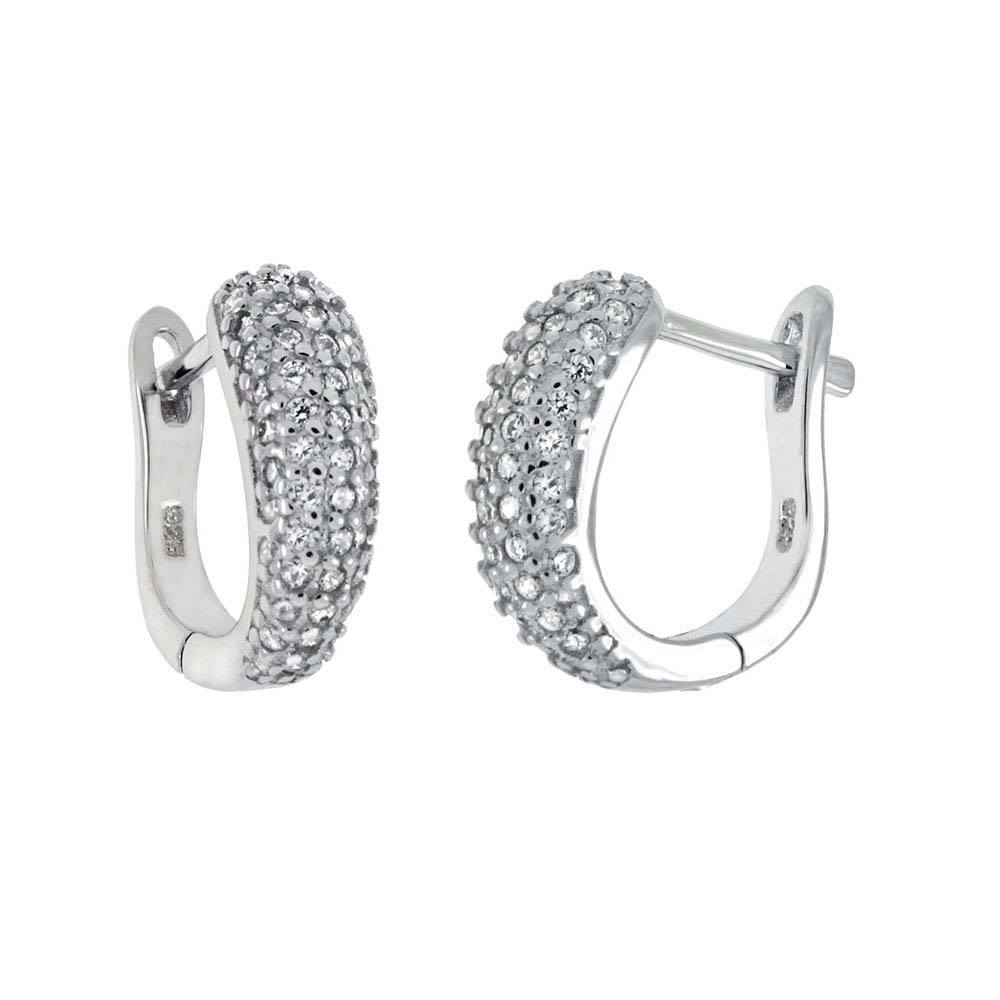 Sterling Silver Cubic Zirconia French Style Hoop EarringsAnd Length ��� inchAnd Width 4.6 mm