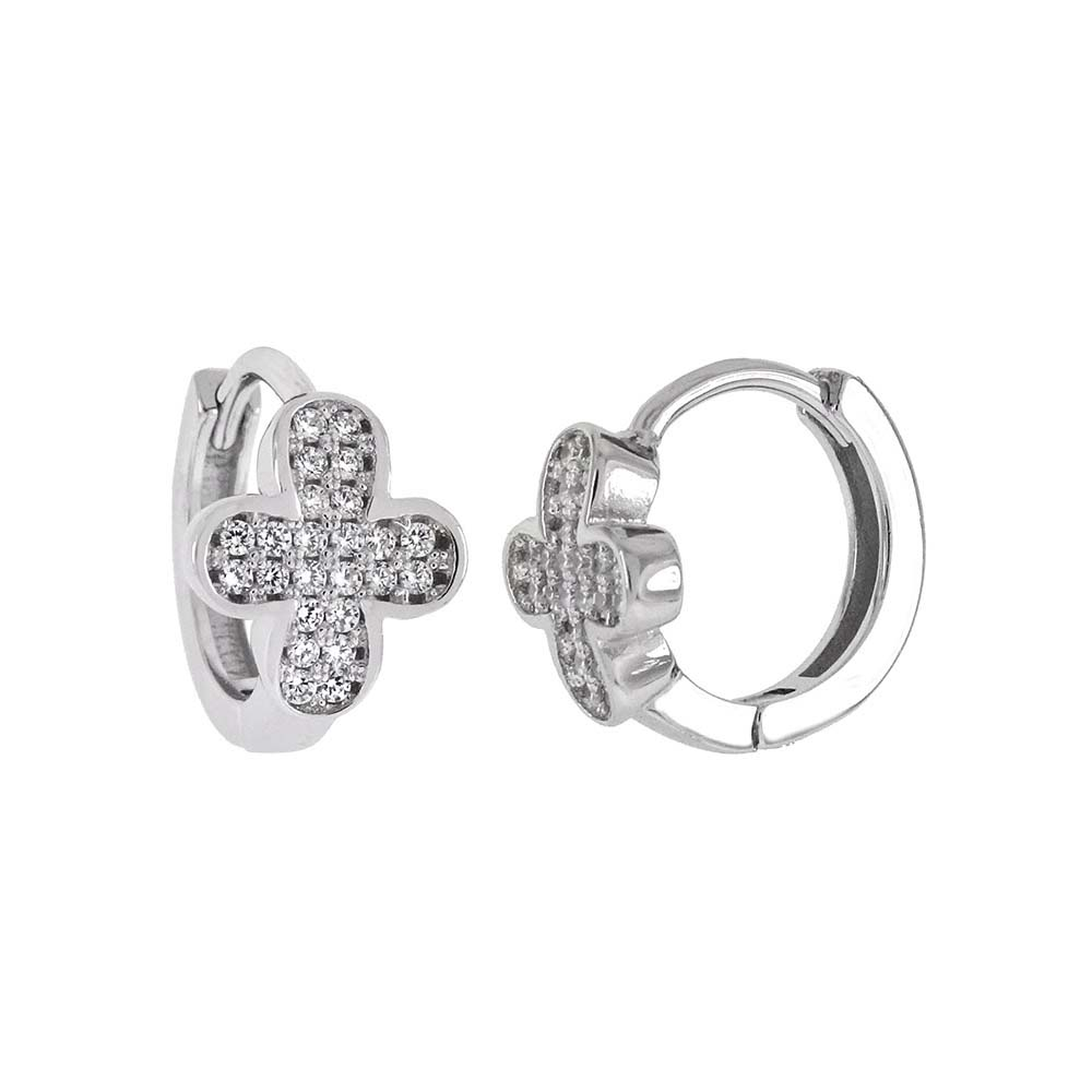 Sterling Silver Pave CZ Cross Huggie Hoop Earrings