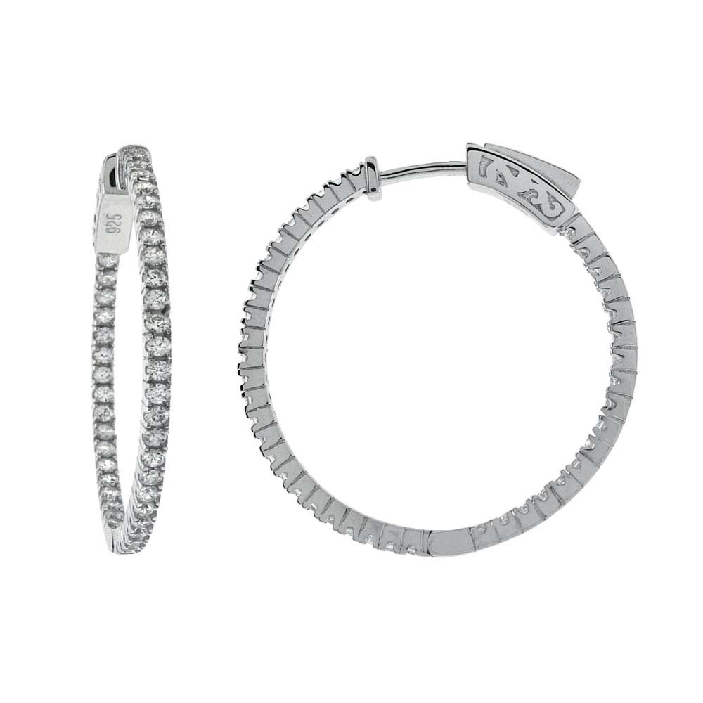 Sterling Silver Pave Set In and Out Cz 22MM Hoop Earrings with Earring Diameter of 28.58MM and Earring Width of 1.5MM