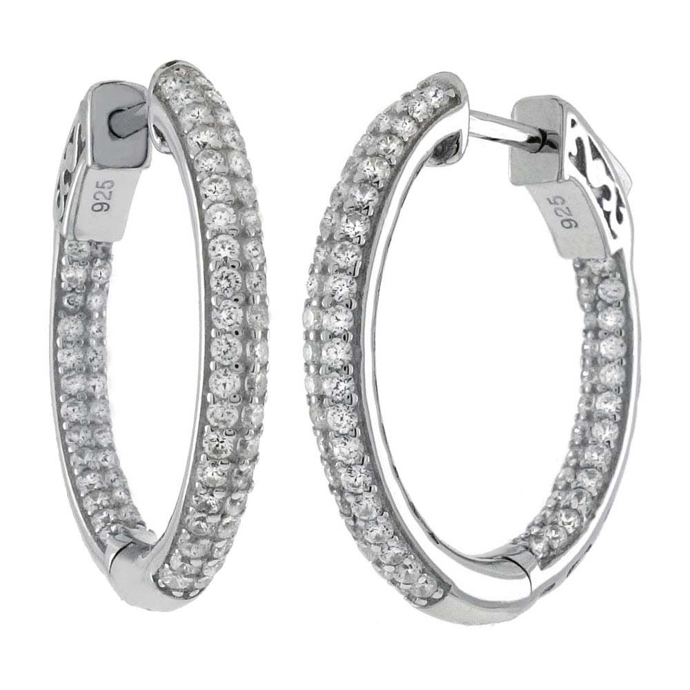 Sterling Silver Pave Set Tube In and Out Cz Hoop Earrings with Earring Diameter of 31.75MM and Earring Width of 3MM
