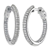 Load image into Gallery viewer, Sterling Silver Pave Set Tube In and Out Cz Hoop Earrings with Earring Diameter of 31.75MM and Earring Width of 3MM