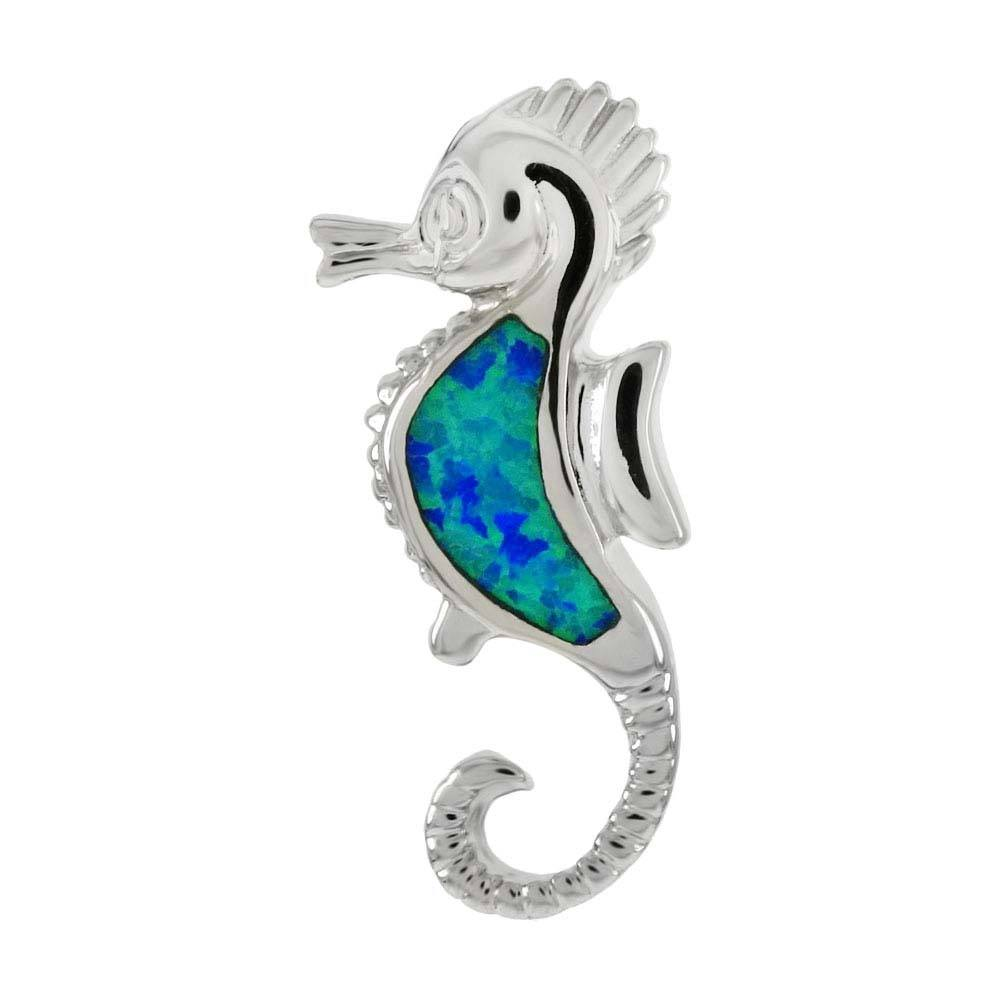 Sterling Silver Simulated Blue Opal Seahorse Pendant