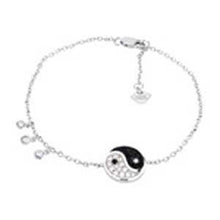 Load image into Gallery viewer, Sterling Silver Pave CZ Yin Yang Rhodium BraceletAnd Length 6 inch
