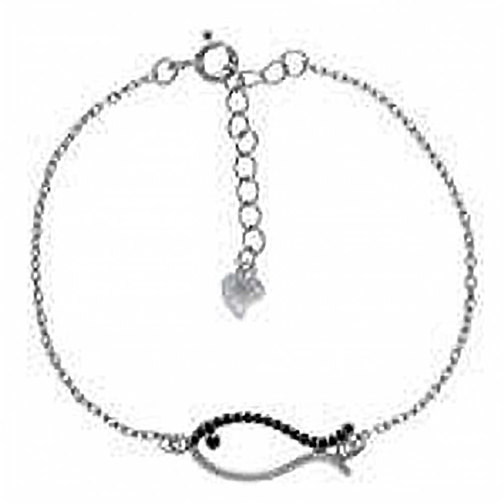Sterling Silver Rolo Charm Design With Black CZ Fish BraceletAnd Length 7.5 inchAnd Width 8.8 mm