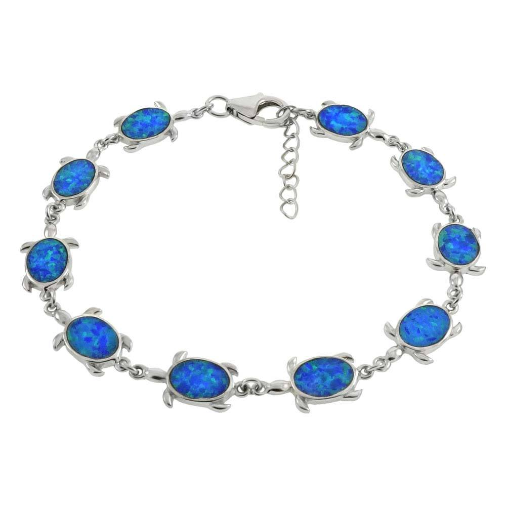 Sterling Silver Simulated Blue Opal Sea Turtle Bracelet