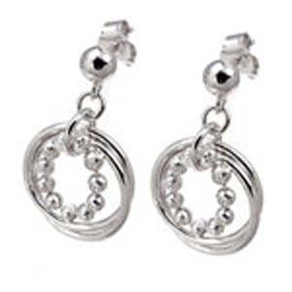 Italian Sterling Silver Rhodium Plated 11 Diamond Cut Bead in 2 Circle Dangle Earrings with Earring Dimension Diameter of 19.05MM and Earring Length of 25.4MM
