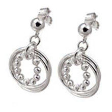 Load image into Gallery viewer, Italian Sterling Silver Rhodium Plated 11 Diamond Cut Bead in 2 Circle Dangle Earrings with Earring Dimension Diameter of 19.05MM and Earring Length of 25.4MM