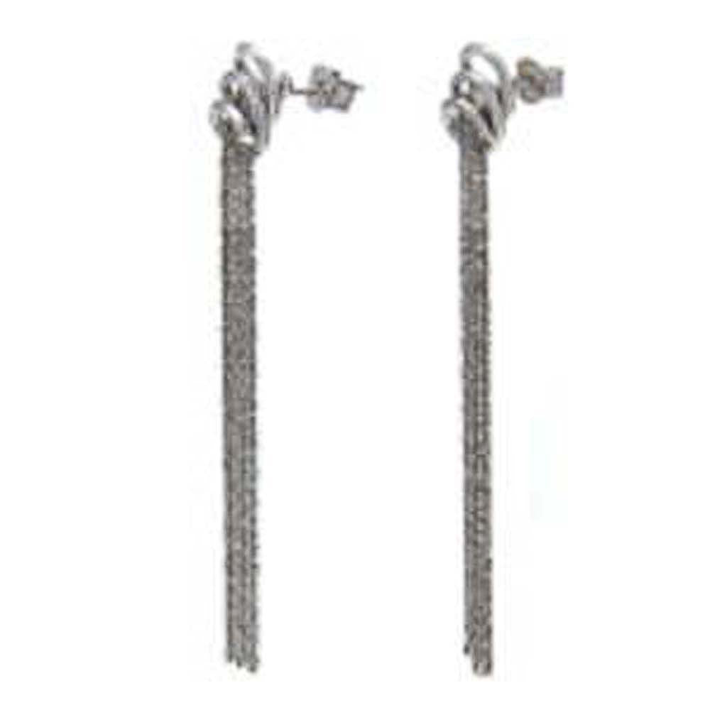 Italian Sterling Silver Diamond-Cut Rhodium Plated Roc Chain Earrings with Earring Dimension of 9MMx69.85MM