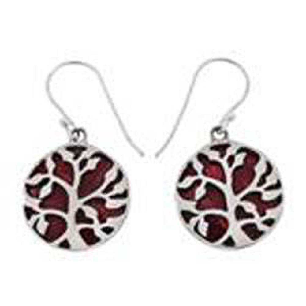 Sterling Silver Tree Of Life Red Coral Earrings