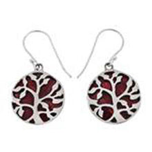 Load image into Gallery viewer, Sterling Silver Tree Of Life Red Coral Earrings