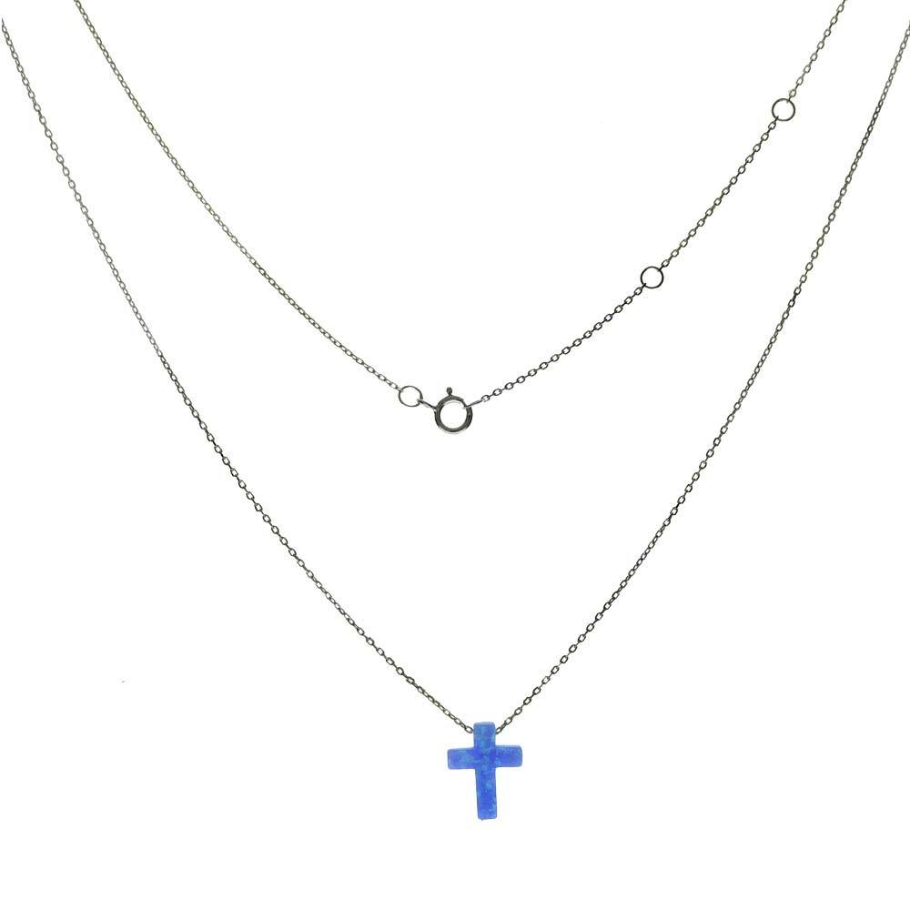 Sterling Silver Simulated Blue Opal Cross Pendant Rhodium Chain Necklace