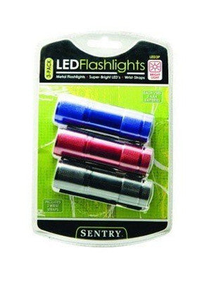 Pack of 3 Sentry Super Bright Metal 9 Led Flashlight w/Wrist Strap