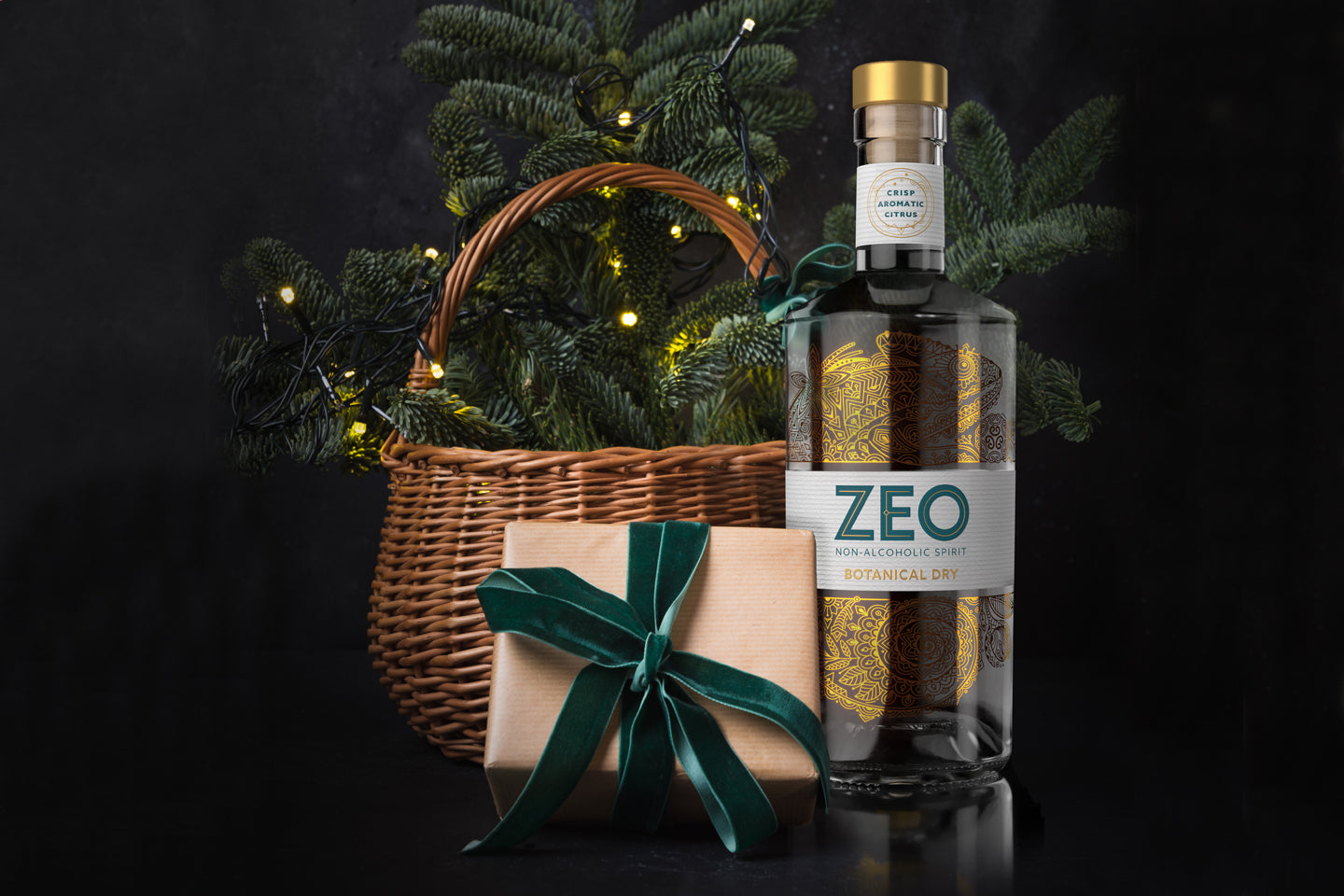 ZEO Botanical Dry next to an alcohol-free Christmas hamper