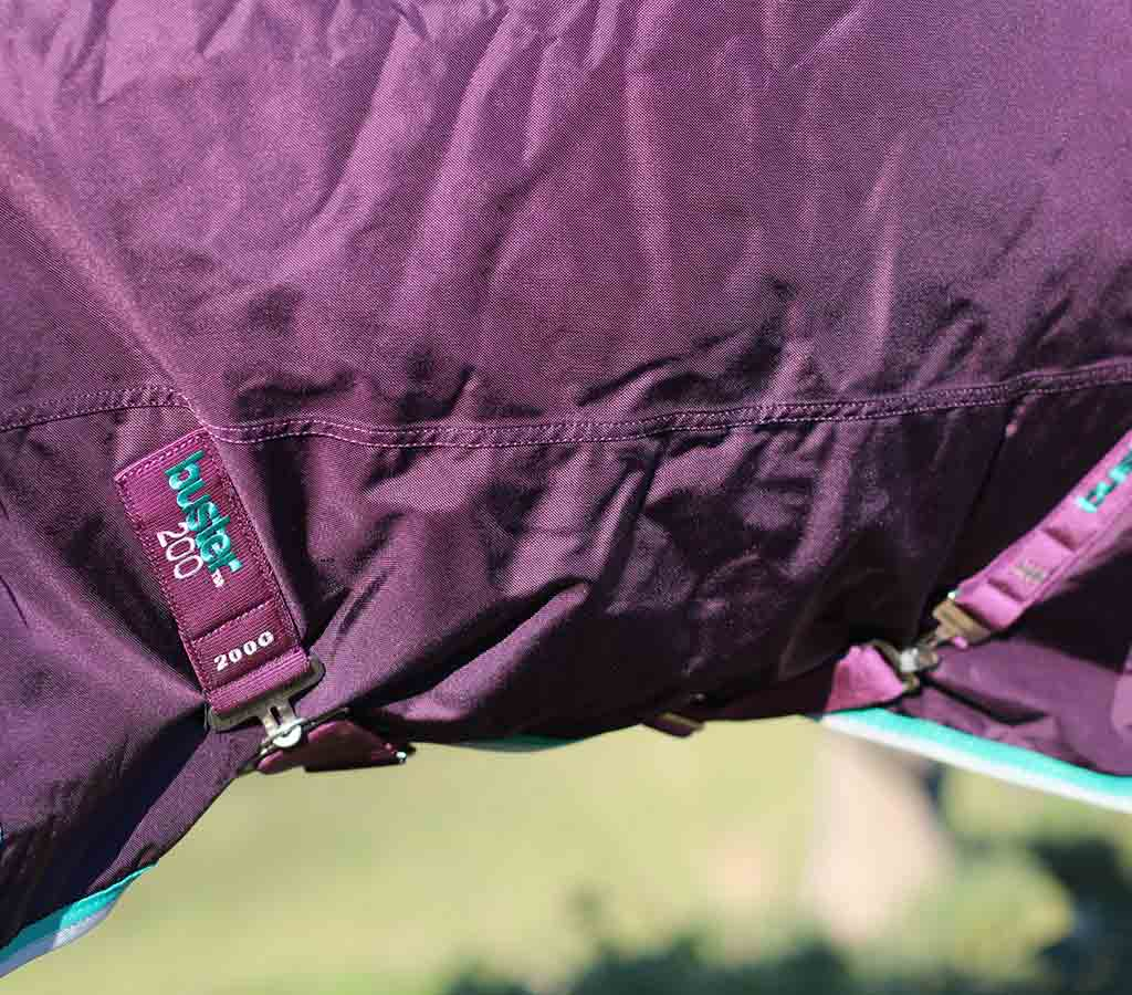 Buster 200g Turnout Rug with Neck Cover - Surcingles close up