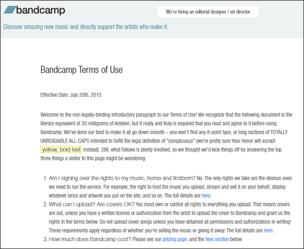 Bandcamp Terms of Service