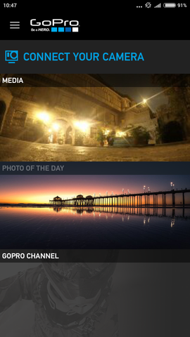 GoPro App Welcome Screen