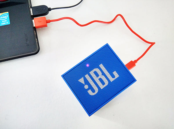 JBL Go attached to laptop