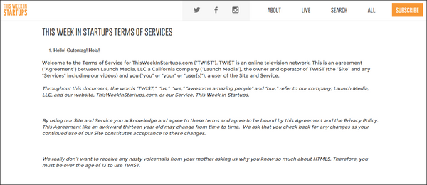 This Week in Startups Terms of Service