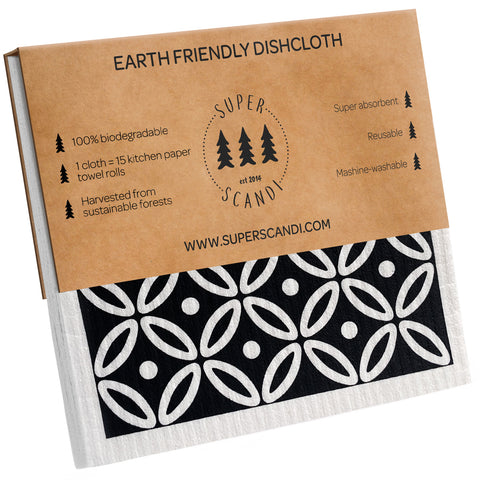Scandi Print Reusable Cellulose Sponge Cleaning Cloths - 5 pack