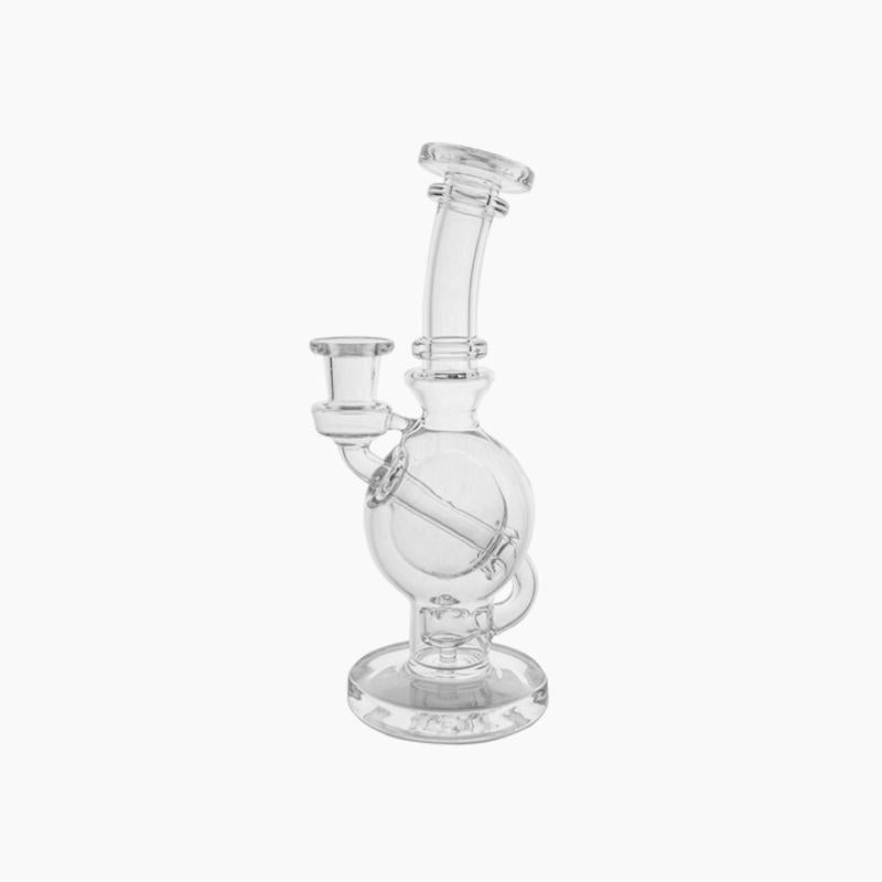 Ball rig. Straight neck, borosillicate glass with flared mouthpiece. Flared mouthpiece, weight: 9 ounces, height: 8