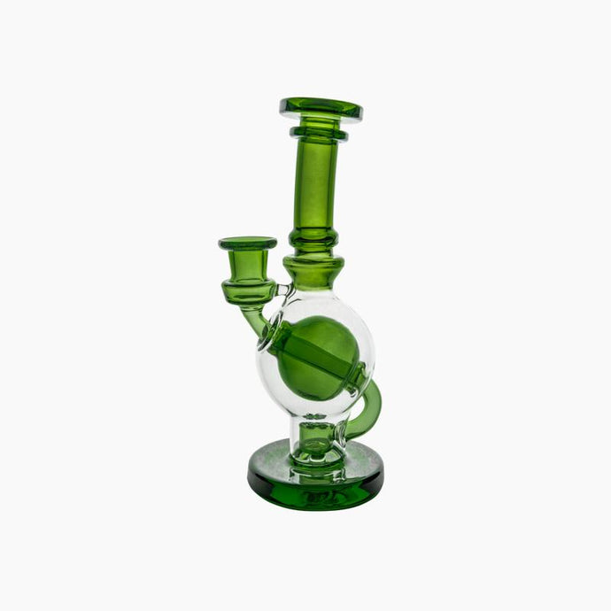 Green Ball rig. Straight neck, borosillicate glass with flared mouthpiece. Flared mouthpiece, weight: 9 ounces, height: 8