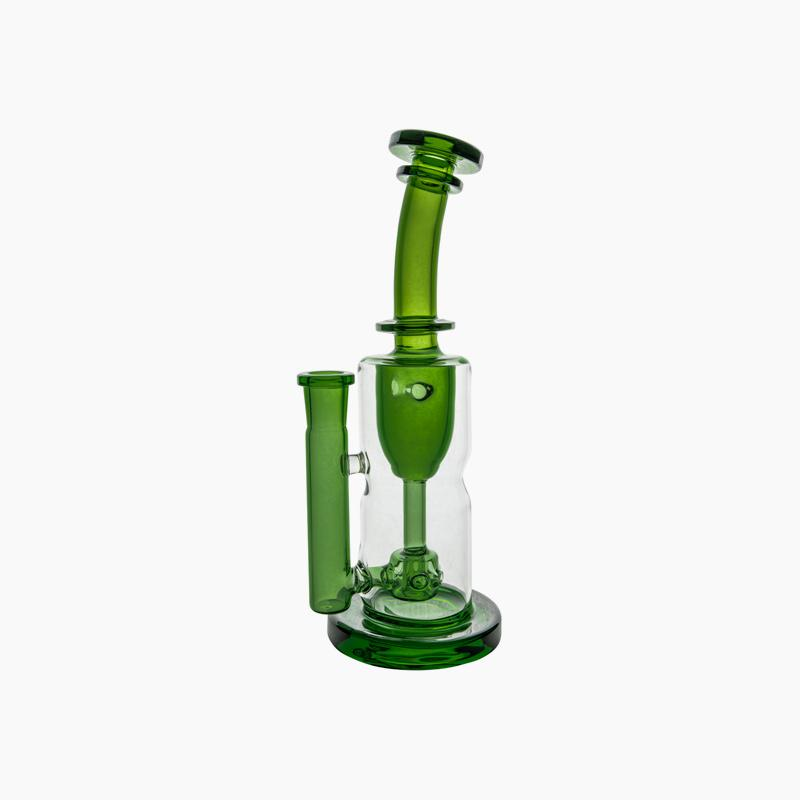 Green Torus. Straight neck, borosillicate glass. 14mm female -90 degree joint. 9 inches height