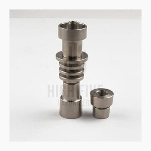 Universal Deep Dish Titanium Nail with Matching Carb Cap 20mm. Fully adjustable and concertible domeless titanium nail fits 14mm male, 14mm female, 18mm male and 18mm connections