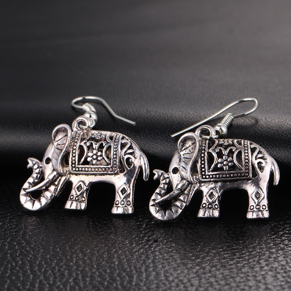 Vintage Silver Elephant Dangle Earring
