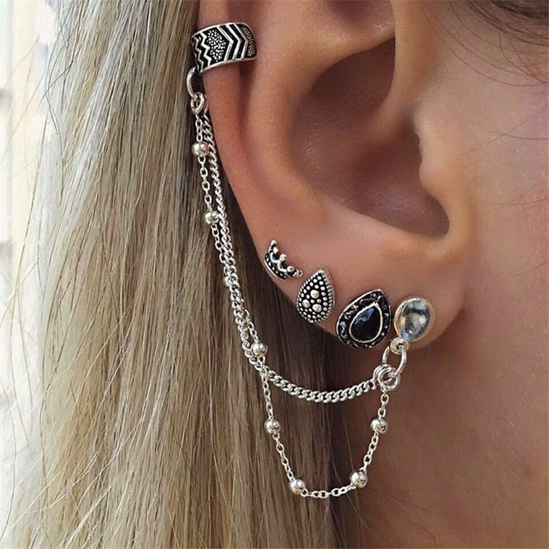 Bohemian Pop Retro Style 4piece set Earrings