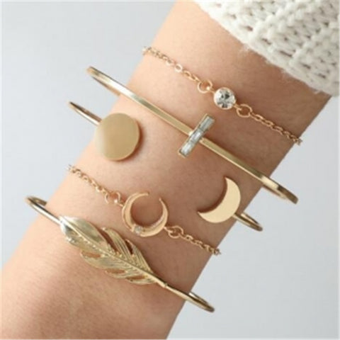 Best Selling Moon Feather 5pieces Bracelet