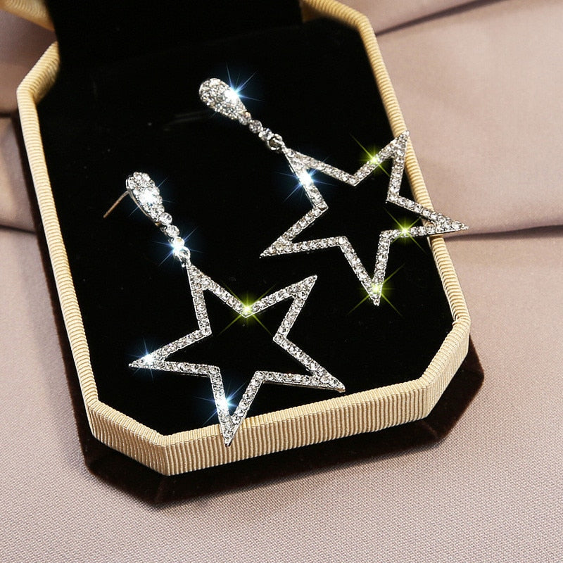 Popular Korean Fashion Long Pentagram Pendant Earring