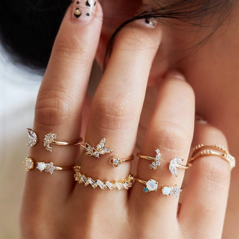 Crystal Opal Knuckle Baguette 6pieces Set Rings